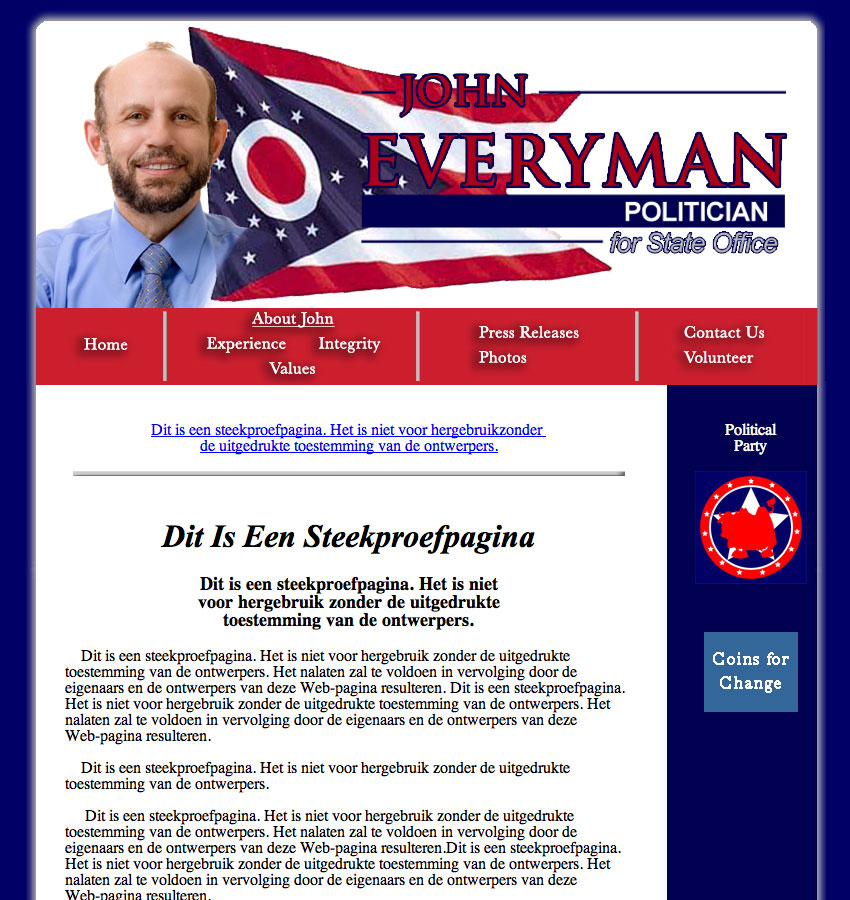 Image of political site webpage