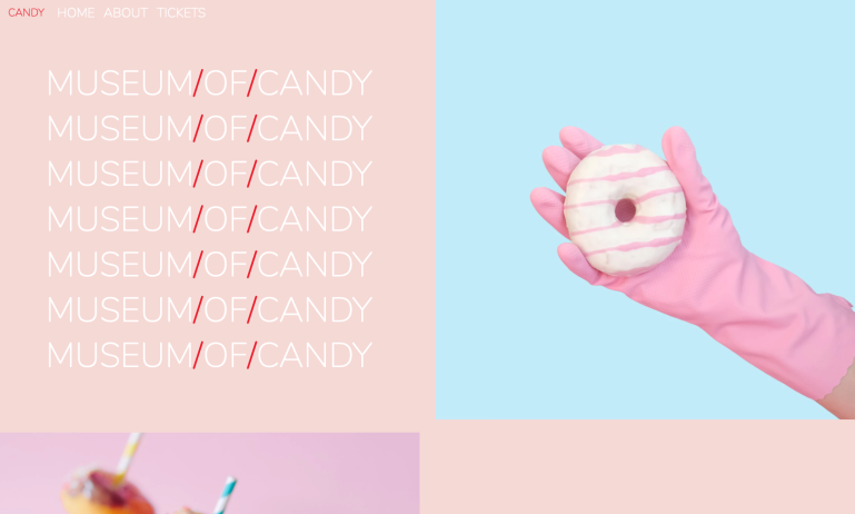 Screenshot of the Museum of Candy demo website.