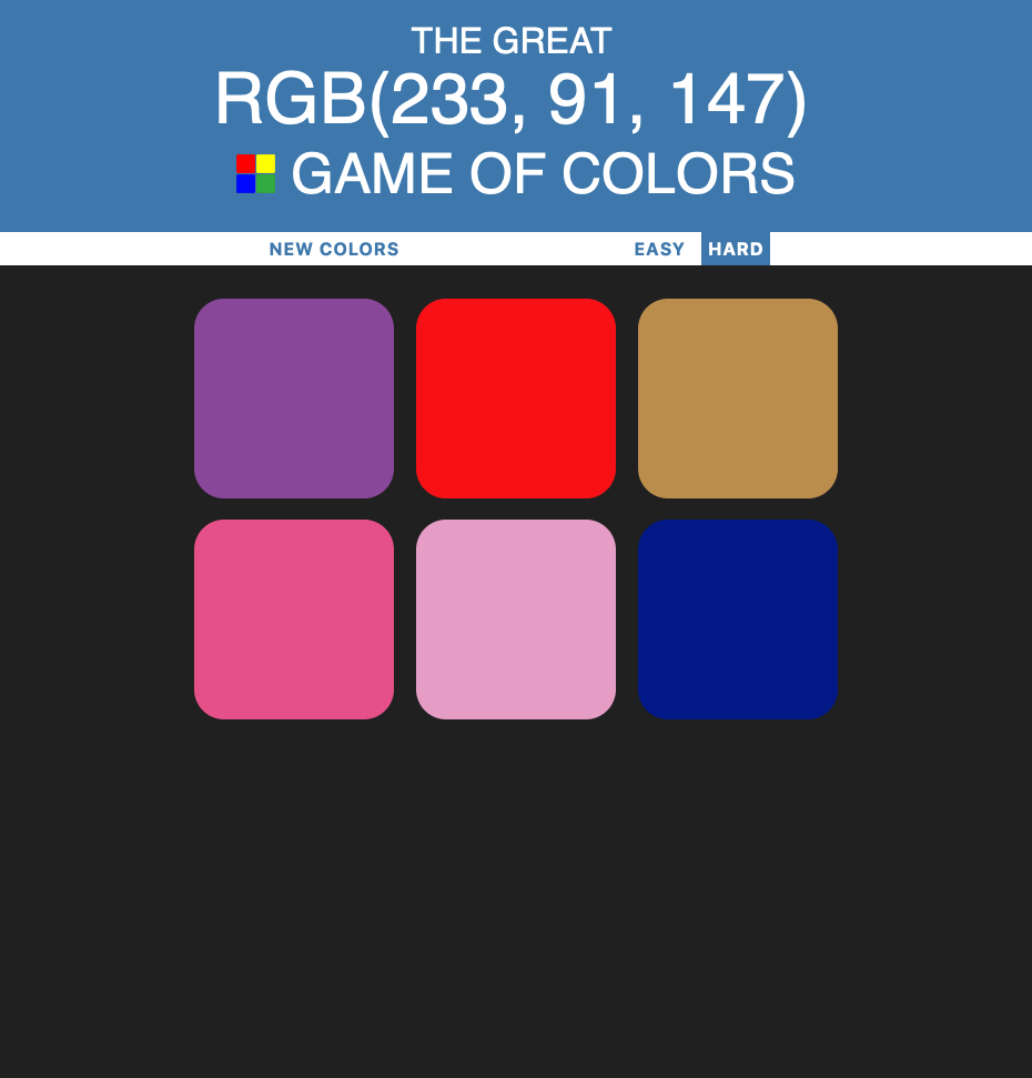 Screenshot of the Game of Colors website.